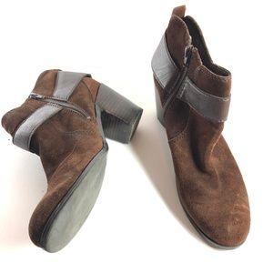 NINE WEST GWEN Brown Genuine Leather Booties ~ 10